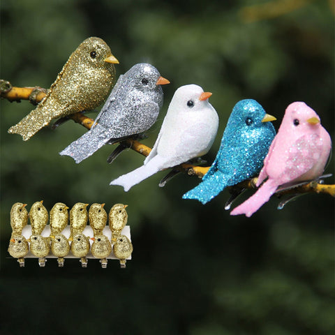 12 Pcs Artificial Simulation Foam Bird Set Mini Cute Birds Ornaments Glitter DIY Craft for Home Garden Christmas Tree Decoration