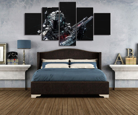 5 Pieces HD Print Large Star Wars Cuadros Painting Canvas Wall Art Picture Home Decoration Living Room Canvas Painting(Frame)