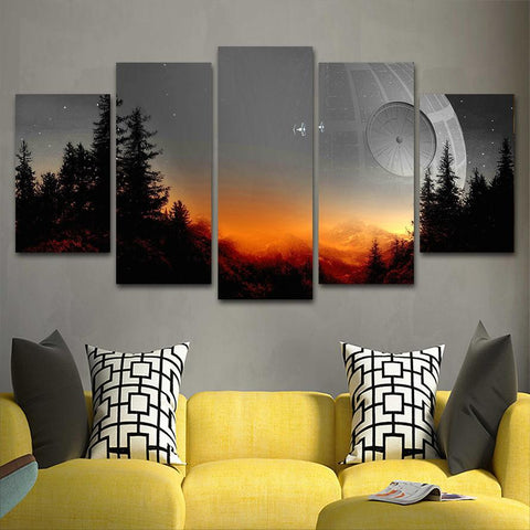 Modular Canvas Pictures Wall Art Framed 5 Pieces Star Wars Tree Death Star Painting Living Room Prints Movie Poster Home Decor