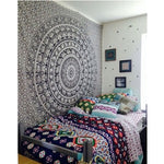Mandala Towel Bedspread Shawl Indian Tapestry Black White Elephant Bohemian Tapestry Wall Hanging Table Cloths