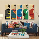Superman Canvas Painting 5 Pieces Superhero Modern Home Wall Decor Canvas Art HD Print Wall Pictures For Child Bedroom Unframed