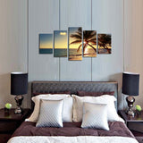 5 Pieces Frameless Canvas Photo Prints Sea Sunset Palm Trees Wall Decorations Wall Art Picture Canvas Wall Paintings