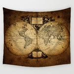 Vintage Middle Ages World Map Series Pattern Wall Hanging Renaissance Printed Mural Warm Room Decor Art