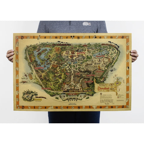 Hand drawing  Disneyland map Nostalgia photo kraft paper bar poster Retro Poster decorative painting