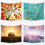 Illusion with Reality Tree Flower Scenery Pattern Wall Hanging Mural Plants Printed Living Room Home Decor Art
