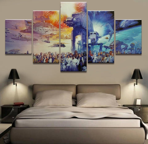 5 Panel HD Print Large Star Wars Movie Picture Painting Canvas Wall Art Picture Home Decoration Living Room Canvas Painting