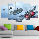 Canvas Modern HD Printed Wall Art Pictures Frame 5 Pieces Millennium Falcon X-Wing Movie Star Wars Paintings Home Decor Posters