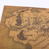 Vintage Middle Earth Map On The Lord of The Rings Poster Home Decor Wall Sticker 51x35.5cm Retro Kraft Paper