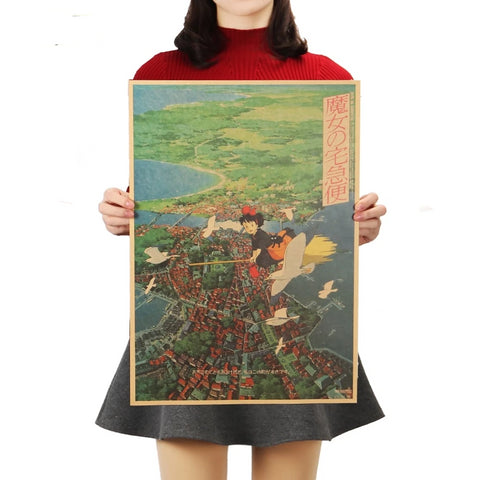 TIE LER Kiki's Delivery Service Hayao Miyazaki Animation Kraft Paper Poster Decoration Painting Wall Stickers