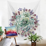 mandala Wall Hanging Cactus Tapestry Green Succulents 3D Flower Art Carpet Blanket Yoga Mat Decorative Tapestry for Home