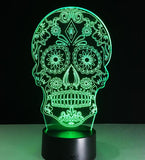 3D LED Color Night Light Changing Lamp Halloween Skull  Light Acrylic 3D Hologram Illusion Desk Lamp