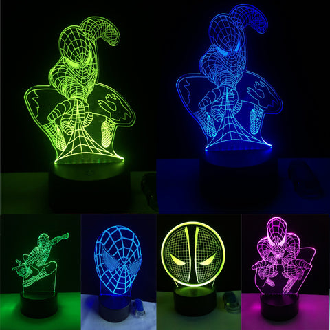 5 Different Superhero Man Figure Spiderman 3D Lamp 7 Color Led Gradient Night Light Kids Lampara Sleeping Creative Festival