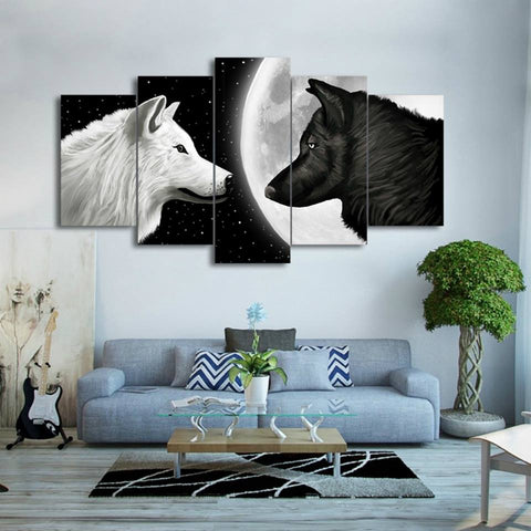 Painting Print Poster Wall HD Art For Living Kids Room Decorative 5 Pieces/Pcs Wolf In The Moon Canvas Framework Modular Picture