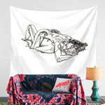 Sexy Body Line Tapestry Art Wall Hanging Tapestry Simple Design Line Wall Decor Yoga Mat Home & Living