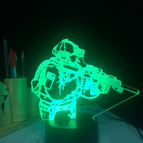 Army Soldier USB 3D Lamp 7 Colors Touch Remote Bedroom Lights Atmosphere Decoration Mood Lighting
