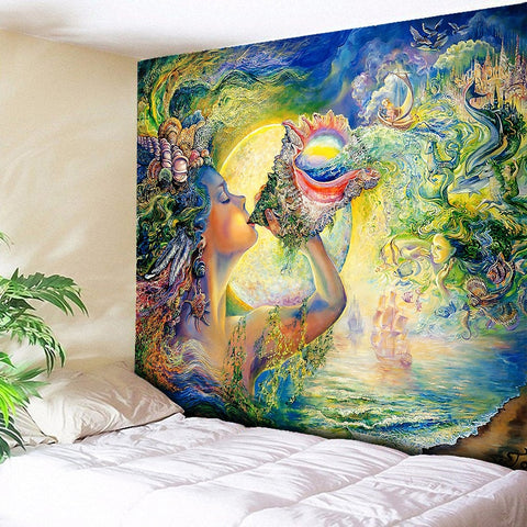 Watercolor Art Conch Goddess Printed Large Psychedelic Tapestry Wall Hanging Beach Towel Polyester Thin Blanket Yoga Shawl Mat