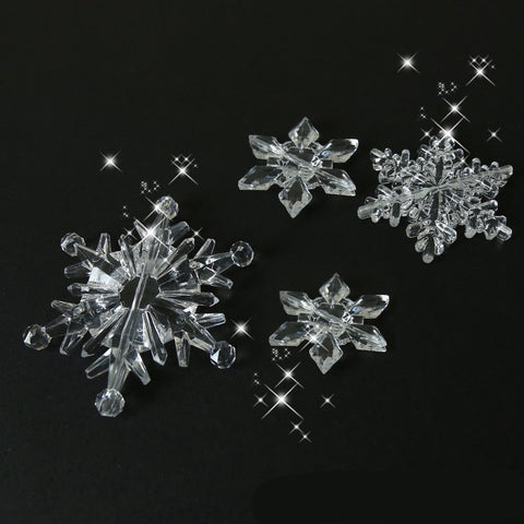 10PCS/Pack Christmas Decorations for Home Snowflake Ornaments Crystal Acrylic DIY Bead Curtain Decorative Craft Home Decor Party
