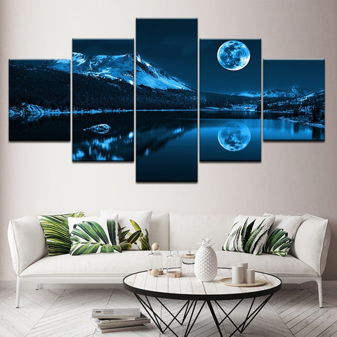 Modern Decoration Home Wall Art Modular Pictures Canvas 5 Pieces Abstract Blue Moon Night Scene Paintings HD Printing Framework