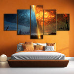 5 Piece Teldrassil Burning World of Warcraft Battle for Azeroth Game Posters Canvas Painting Wall Art for Home Decor
