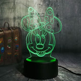 Mickey Minnie Mouse Winnie Tinker Bell Eeyore Donald Duck Buzz 3D LED Lamp Night Light Decor