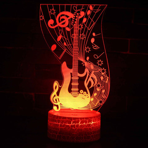 Musical note guitar theme 3D Lamp LED night light 7 Color Change Touch Mood Lamp Christmas present Dropshippping