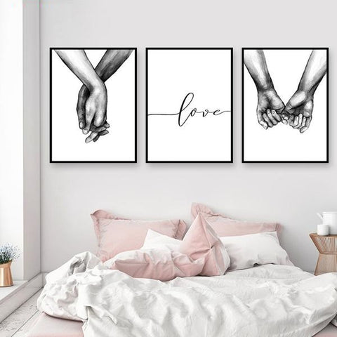 Black And White Holding Hands Canvas Prints Lover Quote Wall Pictures For Living Room Abstract Minimalist Decor