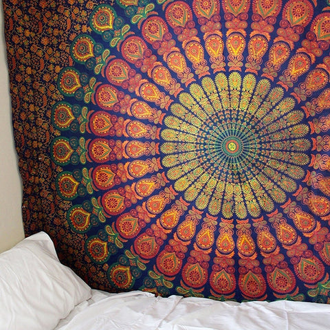 Mandala Indian Tapestry Wall Hanging Bohemian Beach Mat Polyester Blanket Yoga Mat Home Bedroom Art Carpet