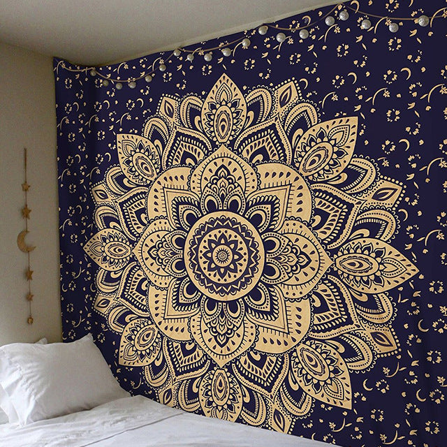 1 Pc Mandala Indian Tapestry Wall Hanging Bohemian Beach Mat Polyester Blanket Y