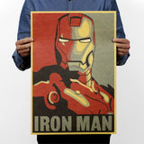 Marvel Hero Iron Man Vintage Kraft Paper Classic Movie Poster Home Decor Art Office School DIY Retro Prints Boys Toy Figures
