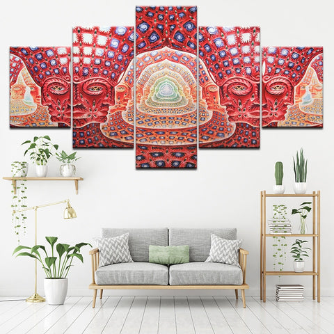 Canvas Painting Wall Art Modular HD Prints 5 Pieces Psychedelic Face Pictures Tool Alex Grey Metal Music Poster Home Decor Frame