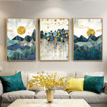 Nordic Abstract Geometric Mountain Landscape Wall Art Canvas Painting Golden Sun Art Poster Print Wall Picture