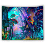 bohemian home decor wall tapestry hanging huge mushroom house fairyland psychedelic tapestry
