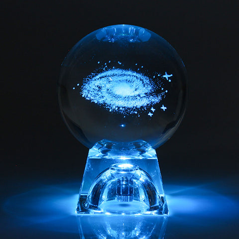 3D Engraved Galaxy solar system Crystal lamp night light luminous Craft Glass round Sphere Home office table Decor