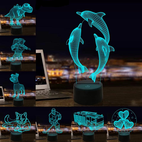3D Lamp Optical Illusion Night Light Dolphin Dinosaur Dog 7 Colors USB LED Night Lamp for Kids Rooms Decoration