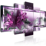 Modern Canvas Painting 5 Pieces Wall Art Beautiful Abstract Lily Flower Wall Decoration Living Room and Bedroom Decor Picture