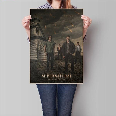 SUPERNATURAL SUPER NATURAL Vintage Movie Poster Retro Wall Paper Living Room Painting Wall Sticker bar cafe
