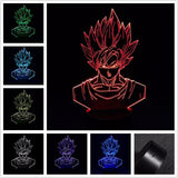 3D Lamp LED Night Light Dragon Ball Z Goku Super Saiyan Action Figure 7 Colors TouchTable Decoration Light Optical Illusion