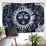 Psychedelic Black Sun  Apollo Style Astrology Tapestry Ouija Magic Witchcraft Mysterious Divination