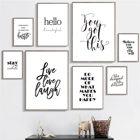Live Love Laugh Inspiring Quotes Wall Art Canvas Painting Black White Wall Poster Prints For Living Room Modern Home Decor