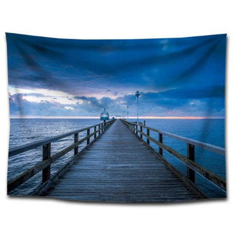 3D nordic celestial wall tapestry hanging wall carpet wall cloth sunset sea wooden landing stage pier bridge nature fabric dorm