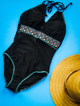 PAOLA Key Hole Halter Embroidered Waist One Piece Swimsuit