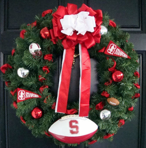 Red & White Football Christmas Wreath
