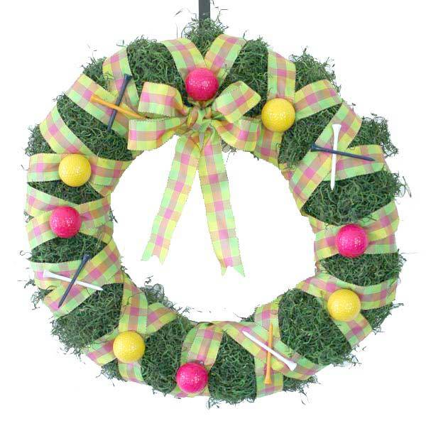 Spring Golf Wreath - Pink/Yellow