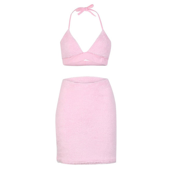 2b8dd5620a456 Cute Pink Fluffy Faux Fur Two Piece Set Women Sexy Crop Top Bodycon Mini  Skirts Party Night Club 2 Piece Outfits Matching Sets