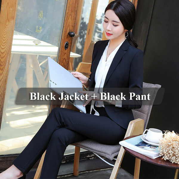 005547452b ... Lenshin 2 Pieces Set Women Pant Suits Business Office Lady Work Wear  Formal Female Two Button