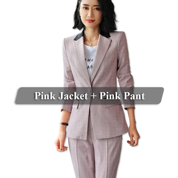 ff884aeba90 ... NAME YOUR OWN PRICE - Lenshin Contrast Collar 2 Pieces set Plaid Formal  Pant Suit Office
