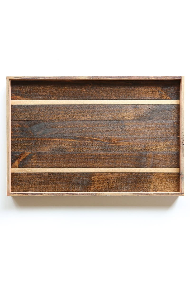 Gold Stripe Reclaimed Wood Tray