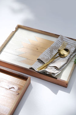 Reclaimed Wood Tray - Gold
