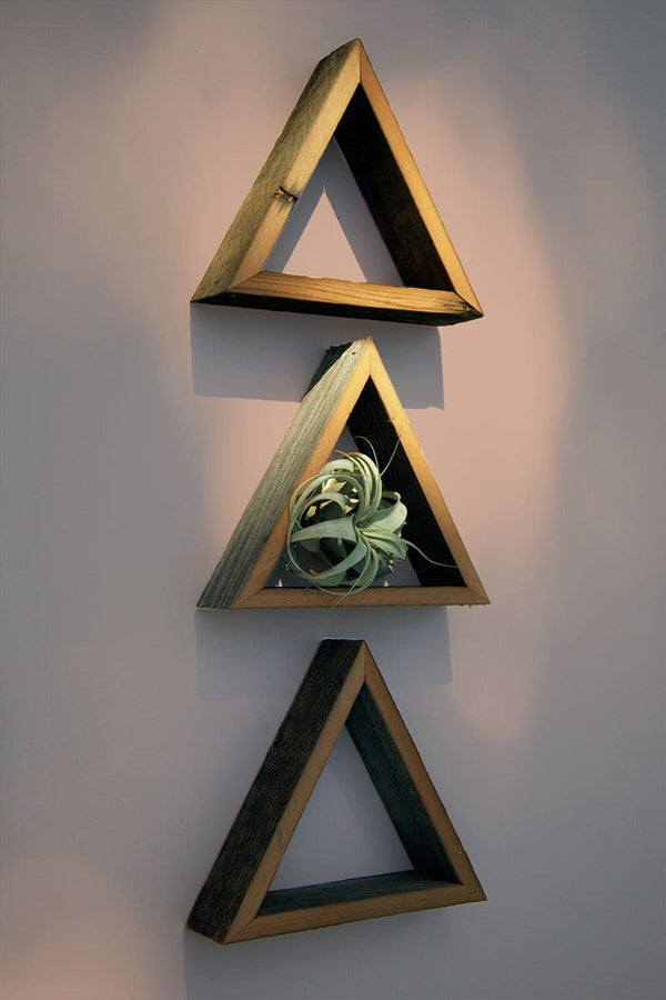 "12"" Reclaimed Open Triangle Shelf Wood"
