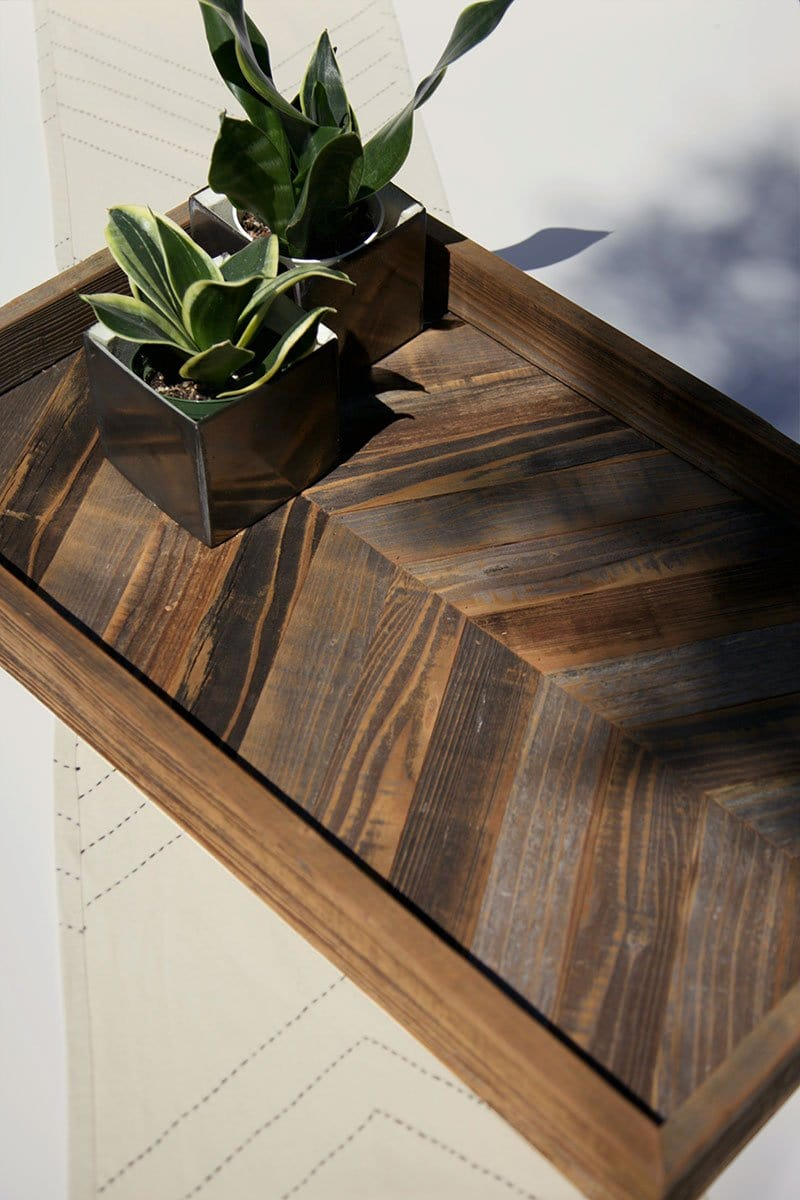 Reclaimed Chevron Wood Tray